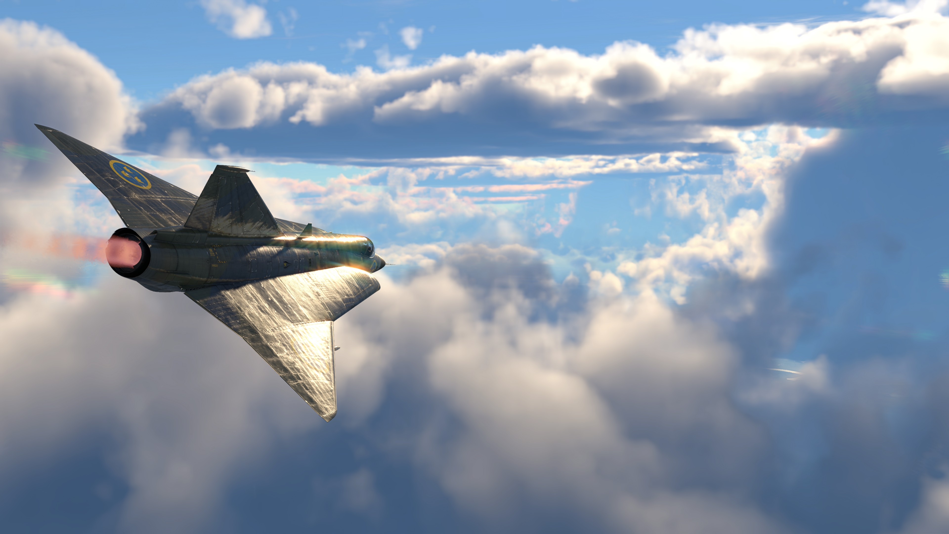 Полёт самолёта между слоями облаков